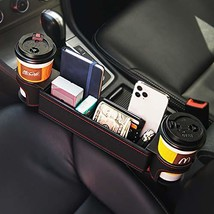 UILB Car Seat Gap Organizer PU Leather, Side Cup Holder with Two Cup Hol... - $30.03