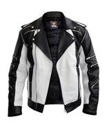Men celebrities Black & White Thriller Premium Genuine Pure Real Leather... - $169.99