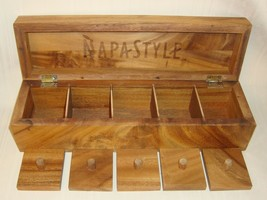 NAPASTYLE Wood SALT BOX 5 Sections with Lids,5 Compartments NAPA STYLE 2007 - £22.78 GBP