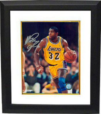 Magic Johnson signed Los Angeles Lakers 16x20 Photo Custom Framed (yellow jersey