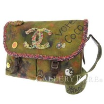 CHANEL Embroidery Shoulder Bag Canvas Leather Khaki Multicolor CC A92790 Italy - $3,383.55