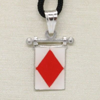 SOLID 925 STERLING SILVER PENDANT WITH NAUTICAL FLAG, LETTER F, ENAMEL, CHARM