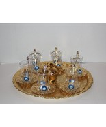 Traditional Turkish Tea Set for Six, Express Shipping, with Evil Eye Gla... - $90.38