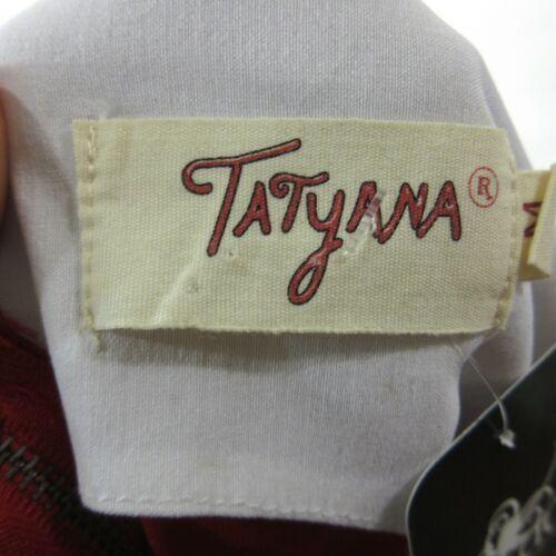 M - TATYANA Red & White MEGAN Open Front Circle 50's Retro Pin Up Dress 0811AL