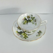 ROYAL ALBERT VINTAGE BONE CHINA FOOTED CUP & SAUCER WHITE YELLOW FLOWERS... - $24.79