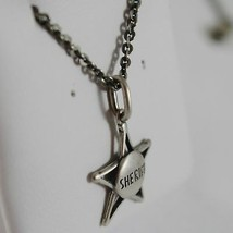 925 Sterling Silver Necklace Burnished Pendant Star Cowboy/Sheriff Made in Italy image 2