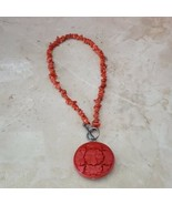 Red Stone Necklace With Pendant - $9.99