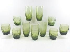 Anchor Hocking Central Park Ivy Green Iced Tea Old Fashioned Set Vintage Glass - $98.67