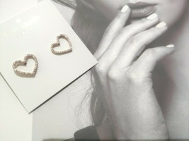 Kate Spade New York Scrunched Rose Gold Pave Heart Stud Earrings - $21.77