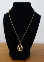 ALEXIS BITTAR SWAROVSKI CLEAR BROWN TEARDROP CRYSTAL PENDANT GOLD NECKLA... - $42.99