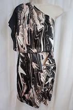Jessica Simpson Dress Sz 8 Woodgrain Black One Shoulder Ruffle Cocktail ... - £48.56 GBP