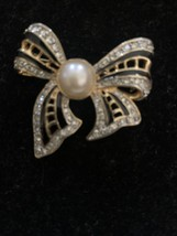 Vintage Rhinestone Crystal And Pearl Bow  Brooch With Black Accent - $6.50