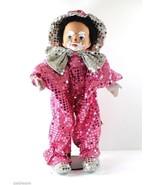 Tati Bremen-Germany Clown 18-in Doll Pink Sequins Porcelain Head Soft Body - $8.96