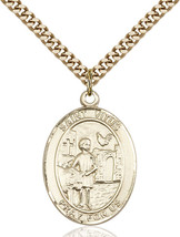 14K Gold Filled St. Vitus Pendant 1 x 3/4 inch with 24 inch Chain - $135.80