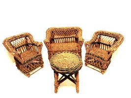 Vintage Wicker Doll or Bear Furniture Four Pieces Settee 2 Chairs Table - $38.60