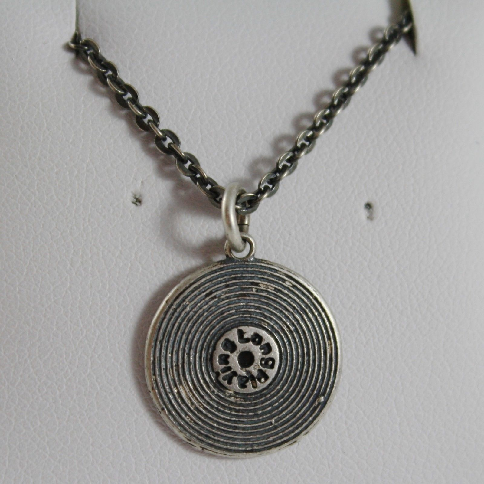 925 STERLING SILVER NECKLACE BURNISHED PENDANT DISC VINYL VINTAGE MADE IN ITALY