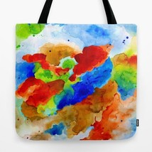 Tote bag All over print Abstract 15 red blue green art painting by L.Dumas - $26.99+