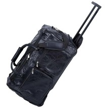 """21"""" Leather Rolling Duffle Bag Trolley Wheeled Carry on Luggage Suitcase... - $48.99"""