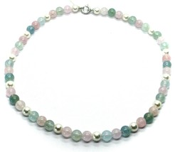 18K WHITE GOLD NECKLACE ALTERNATE AKOYA PEARLS WITH BLUE AND PINK AQUAMARINE image 2