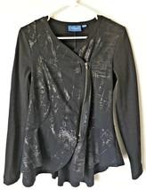 Vera Wang Sz S Black & Gray Foil Print Side Zip Jacket Blazer Small Nwot - $8.41