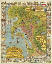 San Diego Pictorial LARGE Wall Map Art Poster Historical Print California Decor - $12.38