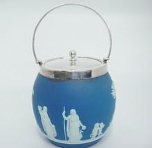 Vintage Blue Jasperware Biscuit Jar Barrel with Lid and Handle Dipped England - $148.49