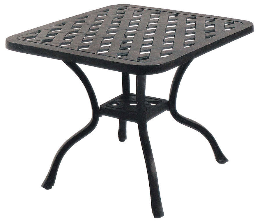"Nassau square end table 21"" outdoor cast aluminum patio furniture All-Weather"