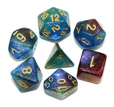 HD Dice Polyhedral Glitter Dice Set Blue Green Red DND Dice Fit Dungeons and Dra image 1