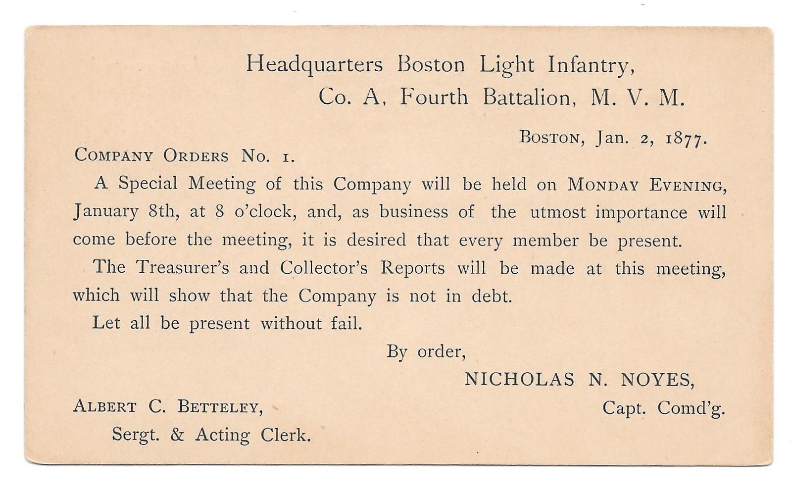 UX5 Postal Card Preprinted Boston Light Infantry Co A 4th Battalion Tigers 1877 image 2