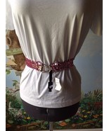 Limited Too Pink Sequin Belt Elastic Stretch Silver Rhinestone Buckle Si... - $9.89