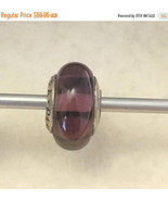 Genuine Pandora Silver Purple lavender stripe Murano Glass Charm Bead  R - $49.95
