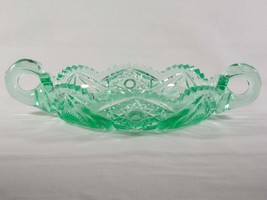 Dalzell Viking Collectors Classic Series Green Mist Glass Handled Relish... - $40.00