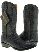 Mens Denim Blue Crocodile Leather Cowboy Boots Round Toe Rodeo Western A... - €258,24 EUR