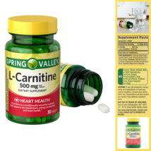 Spring Valley L Carnitine Capsules 500 mg Dietary Supplement 30 Ct Free Shipping - $11.71