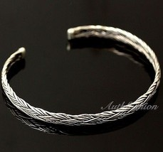 Mens Sterling Silver Bracelet Woven Bangle Handcrafted Hip Hop Beachwear... - $65.34