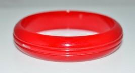 VTG True Cherry Red BAKELITE TESTED Carved Bangle Bracelet - $198.00