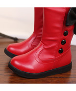 Girls Red Black or white boots with side Buttons and Bows childrens snow... - $59.99