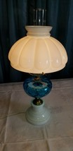 Vintage Fenton Blue Coindot & Milk Glass Table Lamp with Milk Glass Shade - $89.09