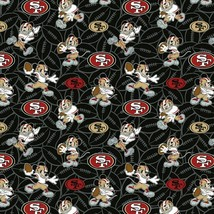 NFL Disney Mickey Mouse San Francisco 49ers Logo Cotton Fabric By The Ha... - $9.40