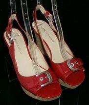 Franco Sarto 'Carnival' red peep toe buckle slingback cork platform wedges 9M image 7