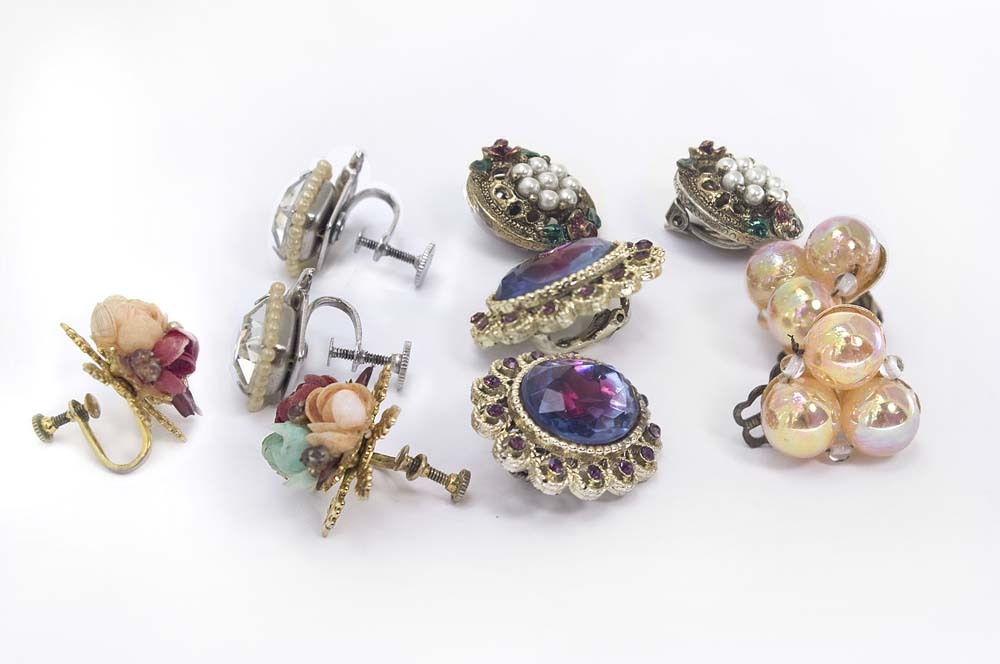 DETASH - Five Pairs of Vintage Clip-On and Screw-On Earrings - Two Signed Lot #2