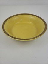 """VTG Marked Franciscan Gold Yellow Round Serving Bowl 9 1/2"""" Brown Patterned Rim - $16.00"""