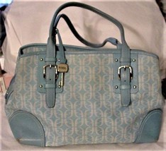 Fossil Canvas/Leather Aqua Logo Covered Handbag Purse Tote Double Straps - $32.95