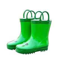 Cute Starry Kids' Rain Boots Green Frog Children Rainy Days Shoes 19.2CM
