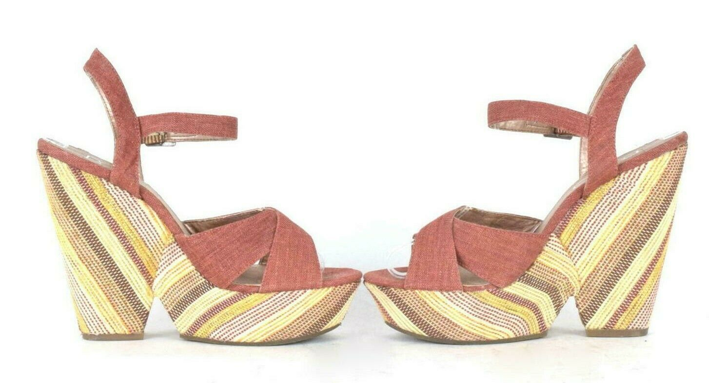BCBG Paris Platform High Heel Sandals Rust Tone Canvas Fabric Shoes Womens 7.5 B
