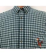 Disney Tiger Shirt Size XL Plaid Green Blue Check Short Sleeve Dress But... - $29.69