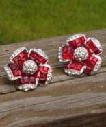 Stunning Invisibly Set Red Rhinestone Flower Clip Earrings - $225.00
