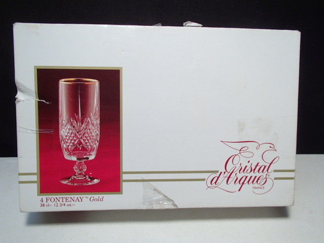 Primary image for 4 Cristal d'Arques Fontenay Gold Iced Tea / Ice Beverage Goblets in Box - Labels