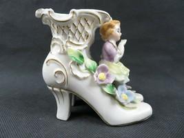 Vintage porcelain Japan boots n girl flower décor figurine - $20.00