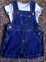 Girl's Size 0-3 M Months Two Piece Faded Glory Blue Denim Suspender Shor... - $11.00
